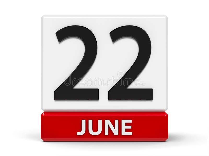 Cubes calendar 22nd June. Red and white calendar icon from cubes - The Twenty Second of June - on a white table, three-dimensional rendering, 3D illustration vector illustration