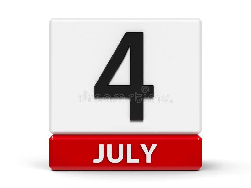Cubes calendar 4th July royalty free illustration