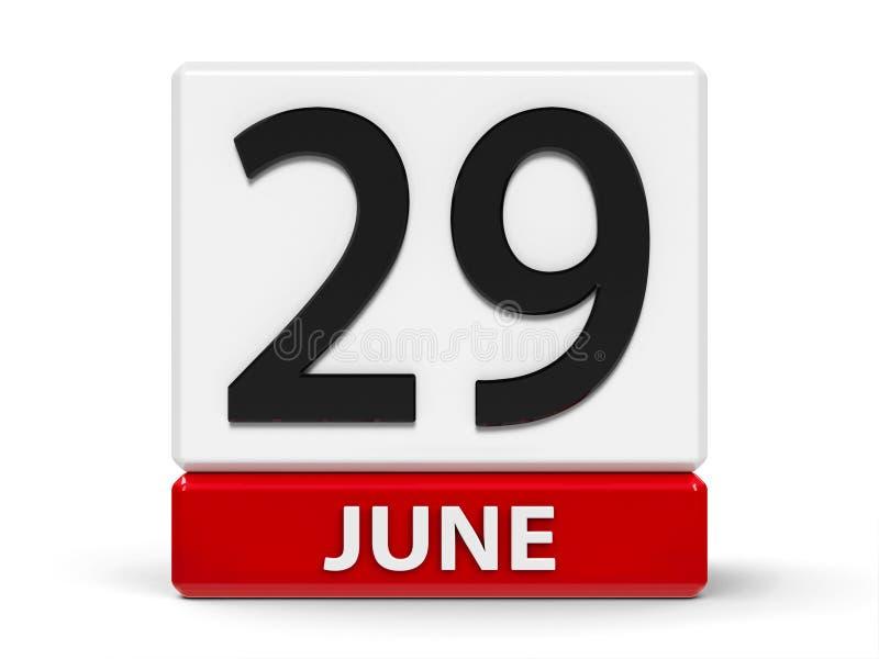 Cubes calendrier 29 juin illustration de vecteur