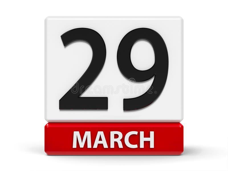 Cubes calendrier 29 mars illustration stock
