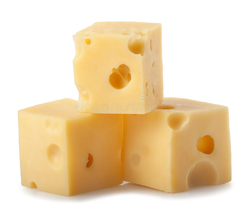 Cubes of cheese isolated on white background stock images