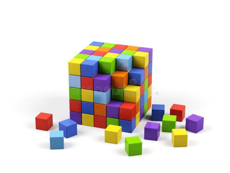 Cubes colorés. illustration stock