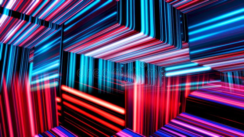 Cubes colorés abstraits se déplaçant lentement, boucle sans couture animation Chiffres noirs du cube 3d avec beaucoup de lignes é illustration de vecteur