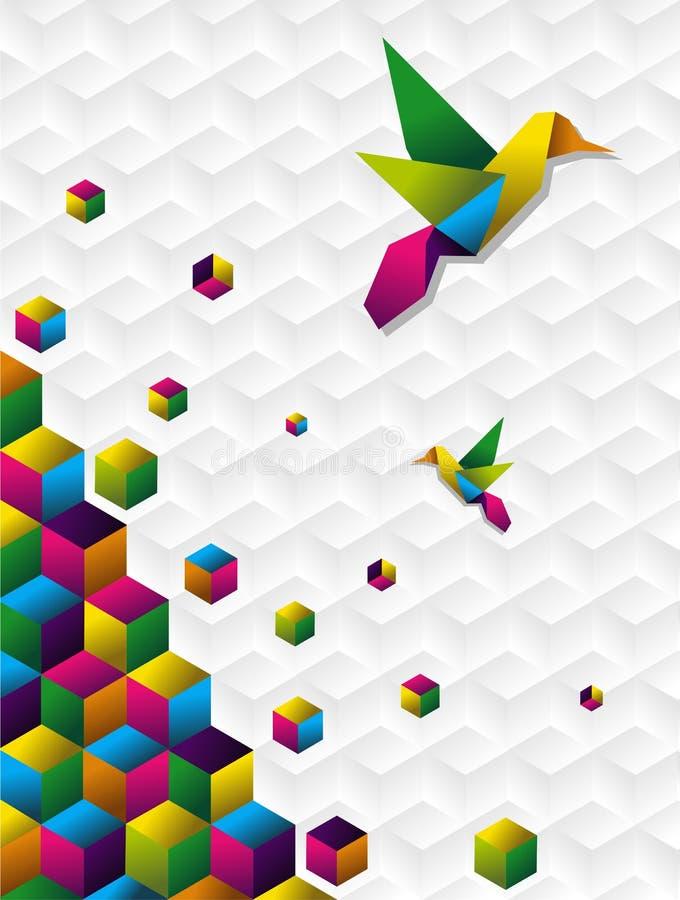 Cubes colorés dans le mouvement illustration de vecteur