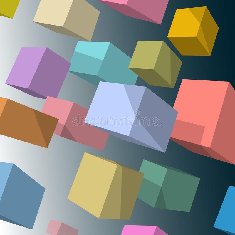 cubes colorés par 3d illustration libre de droits
