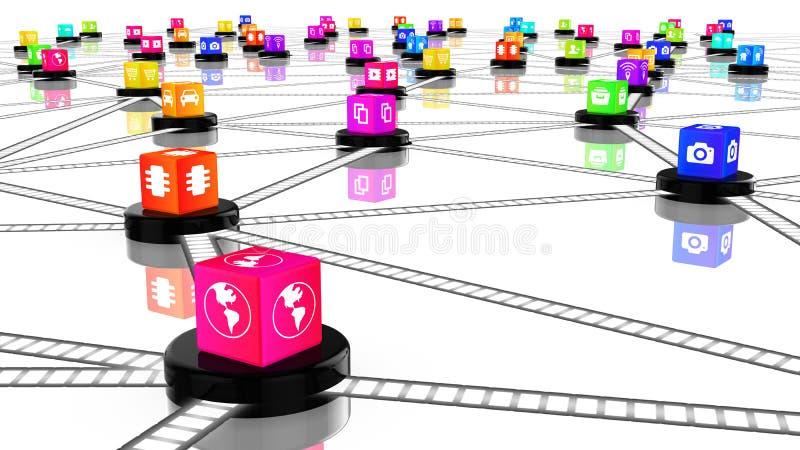 Cubes colorés par réseau en concept d'IOT illustration libre de droits