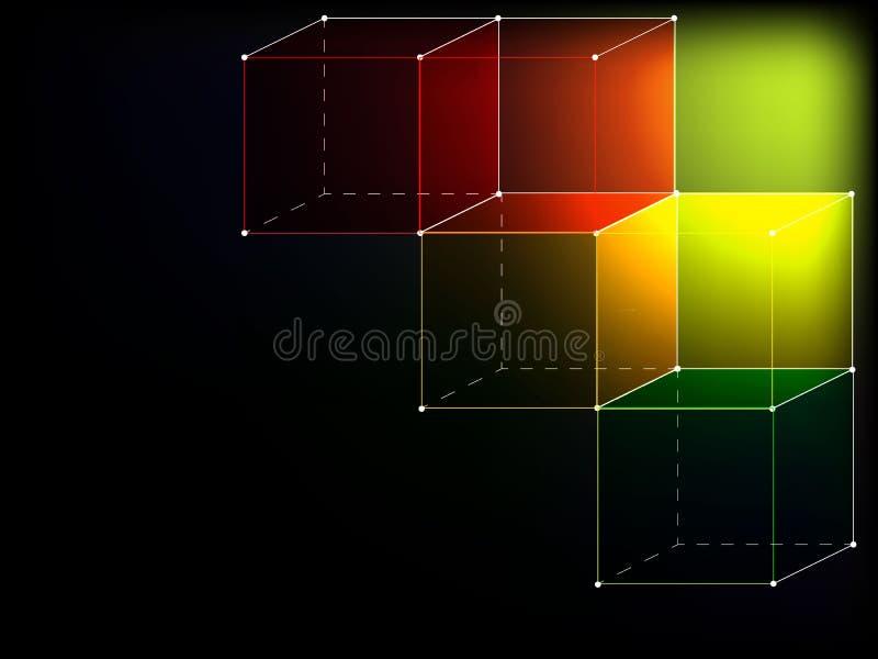 Cubes colorés sur le fond noir illustration libre de droits