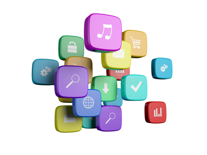Download Cubes with color stock illustration. Image of message - 22925670