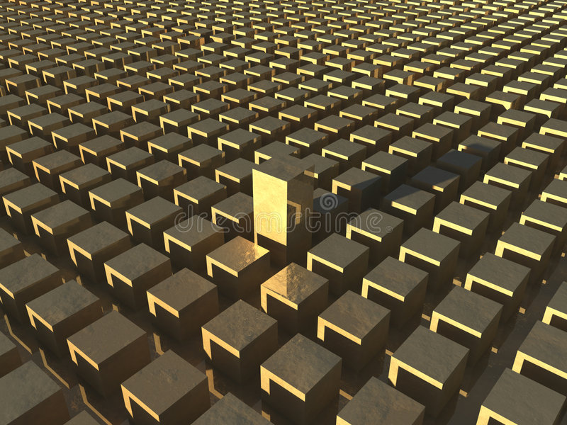 Cubes d'or illustration stock