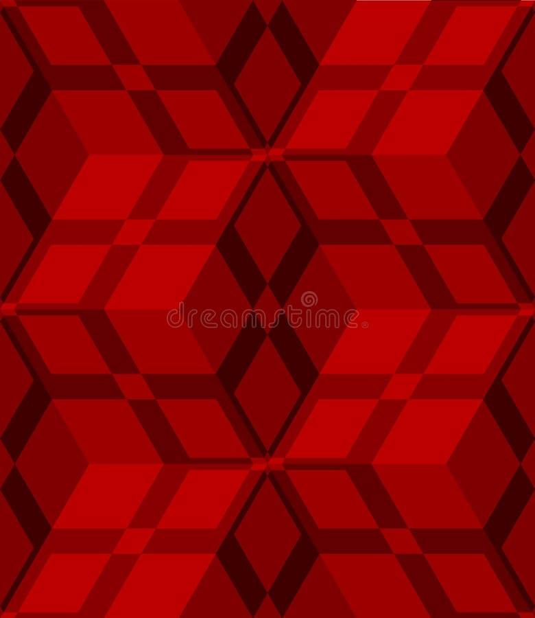 Cubes 3d rouges barrés avec le modèle sans couture net illustration stock