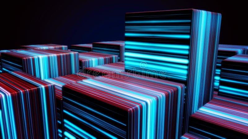 Cubes dans les lignes au néon Cubes au néon lumineux en résumé Animation abstraite avec déplacer les figures cubiques dans l'espa illustration stock