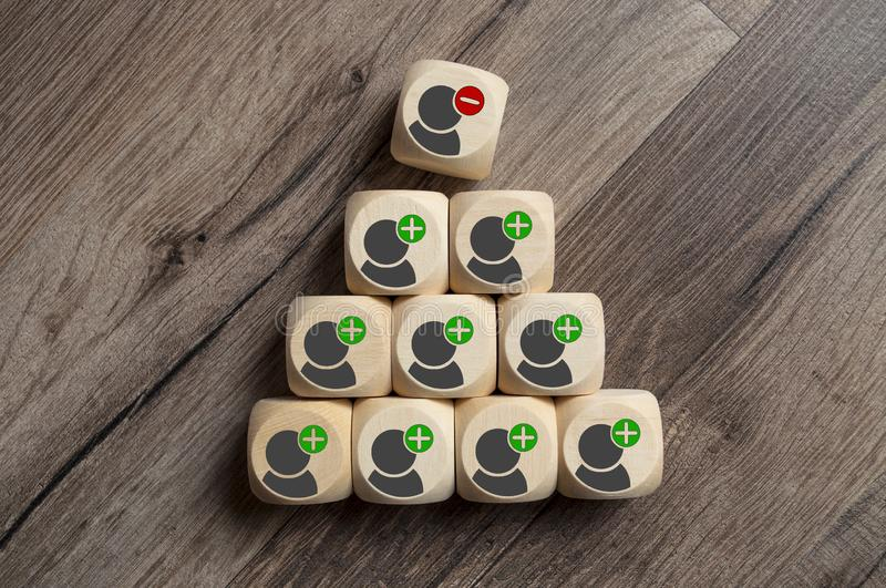 Cubes Dice with cancellation and dismissal or termination. On wooden background stock photos