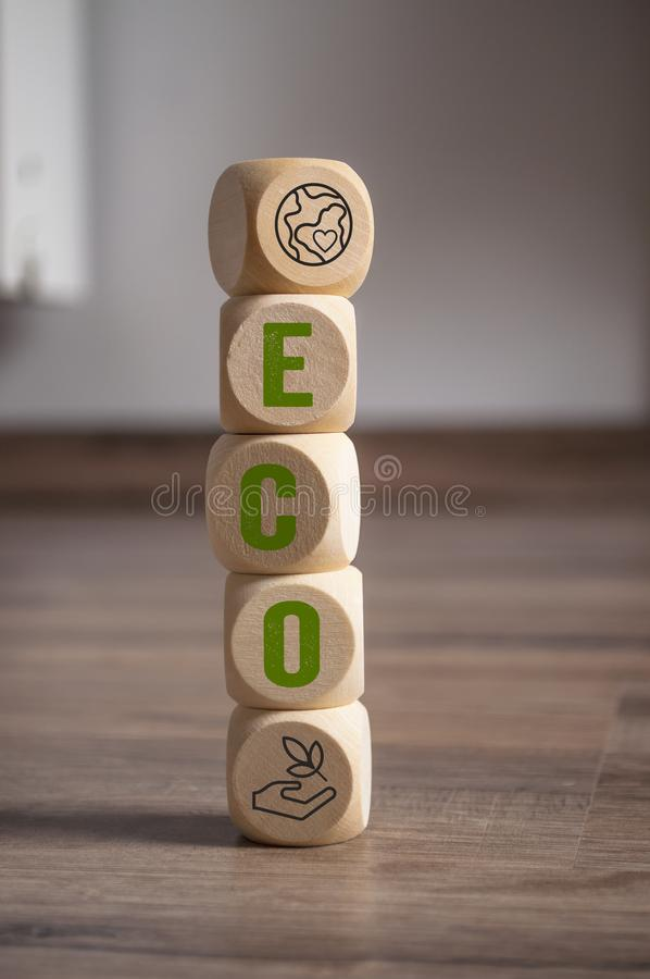 Cubes dice with eco stock photo