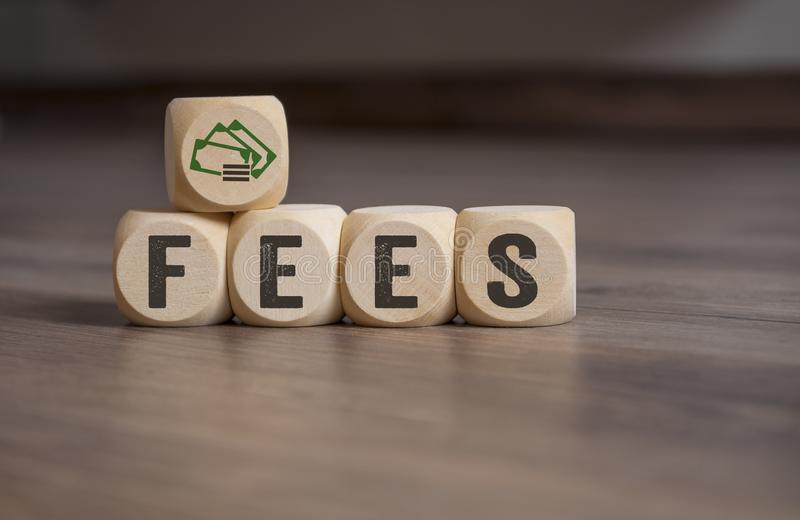 Cubes dice with fees stock photos