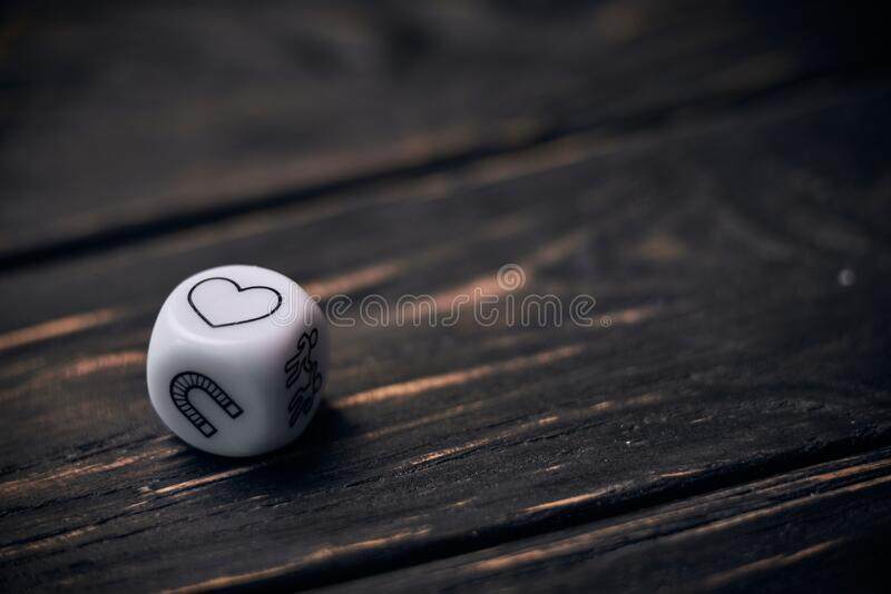Cubes dice with funny life style symbols. heart sign on a top side royalty free stock photos