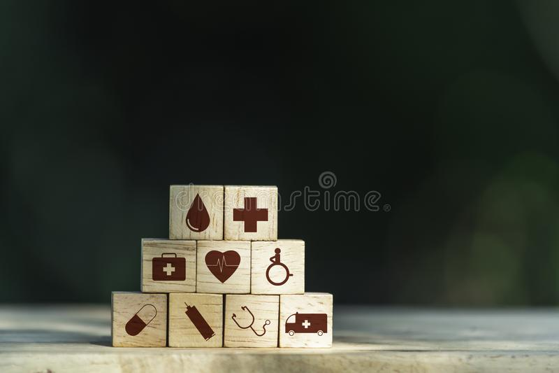 Cubes dice health and medical symbols with copy space. Healthy and medical concept stock photo