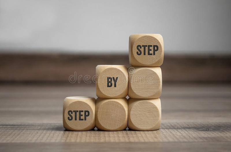 Cubes dice with step by step. On wooden background stock images