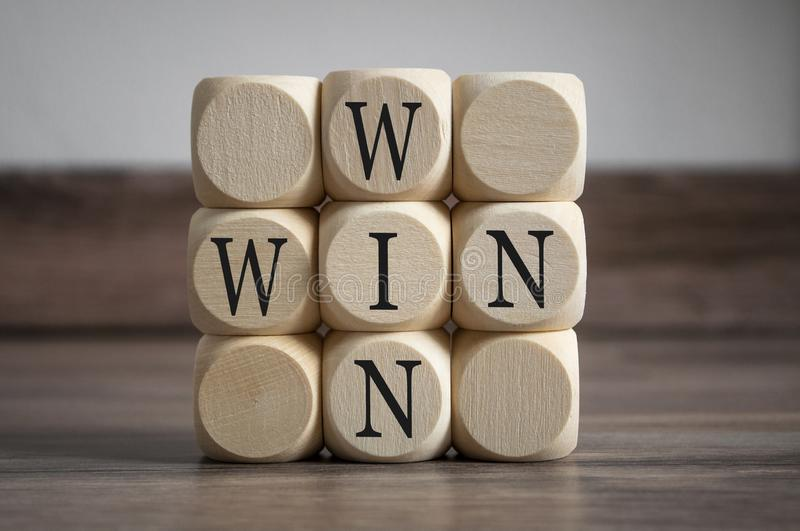 Cubes and dice with win win situation stock photography