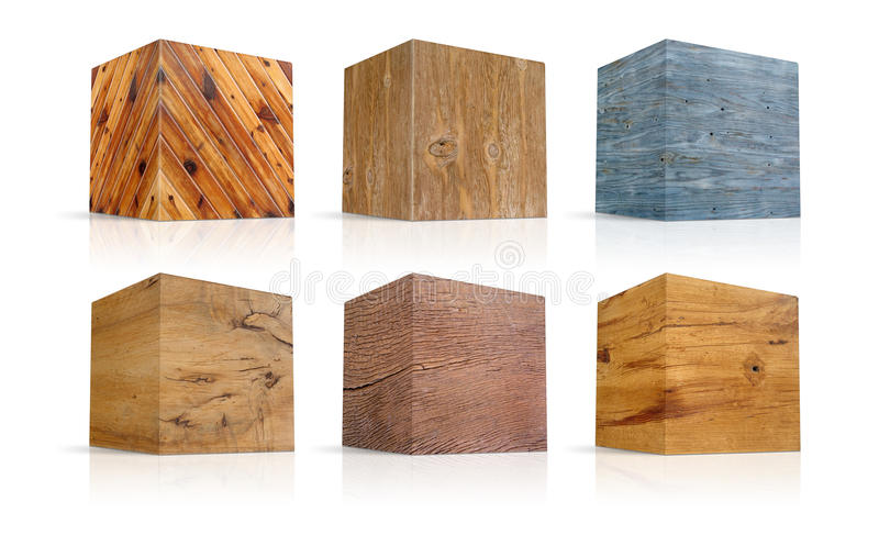 Cubes In Different Types Of Wood Stock Photos