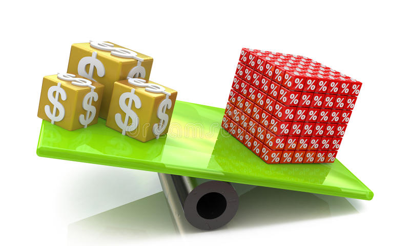 Cubes of dollars outweighed the cube percent royalty free stock photo