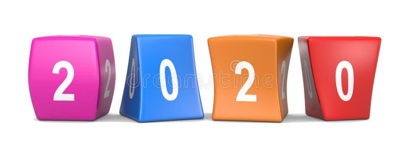 2020 cubes drôles en textes illustration de vecteur