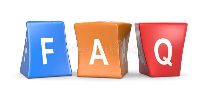 Cubes drôles en FAQ illustration stock