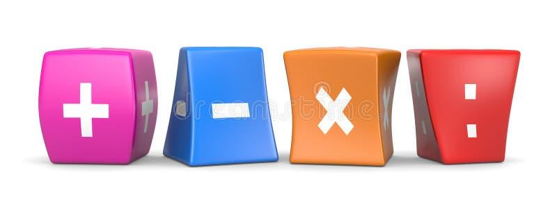 Cubes drôles en opérateurs de maths illustration libre de droits