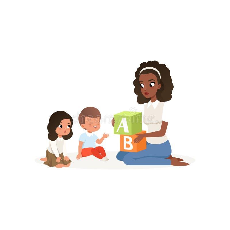 Cubes en ABC colorés par participation de professeur Petit garçon et fille apprenant des lettres d'alphabet Conception plate de v illustration de vecteur