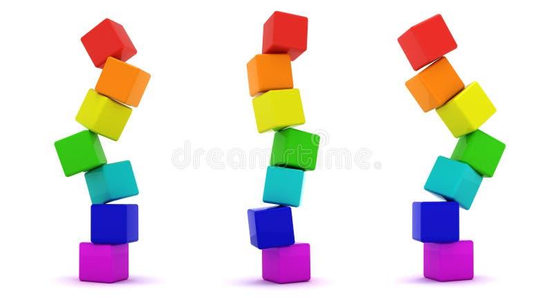 Cubes en arc-en-ciel illustration stock