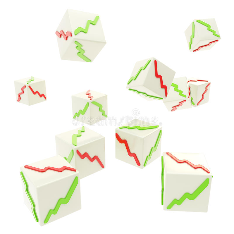 Cubes en baisse avec les graphiques positifs et négatifs sur des visages illustration libre de droits
