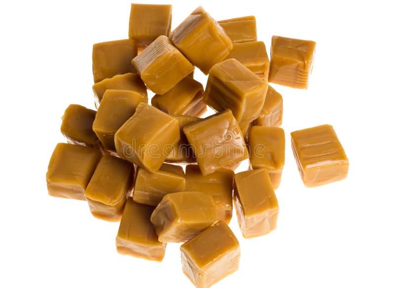 Cubes en caramel dans une pile image libre de droits