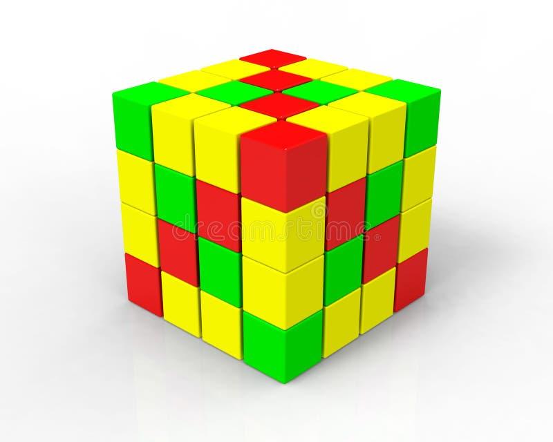 cubes en couleur 3d sur le blanc images stock
