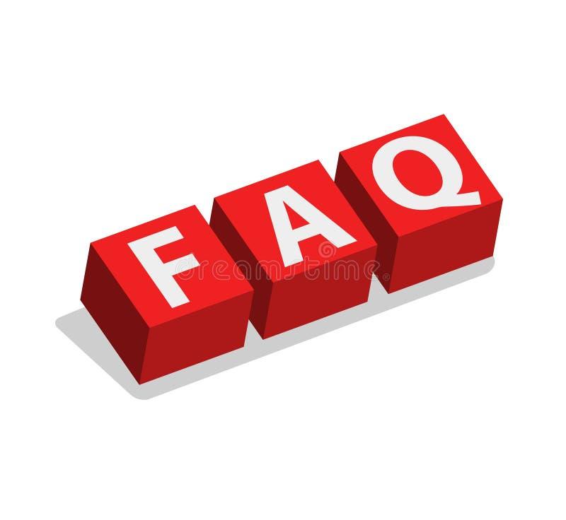 Cubes en FAQ illustration stock