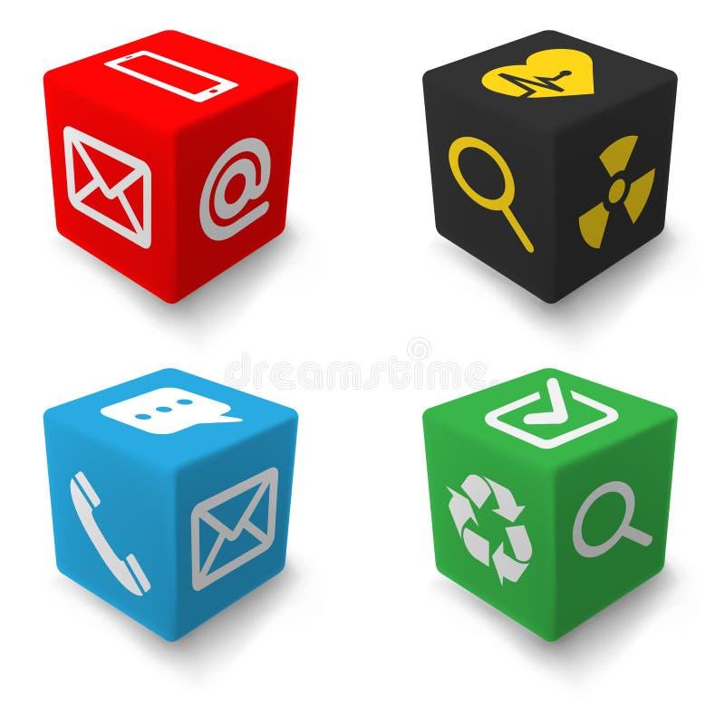 Cubes en information de contact réglés illustration stock