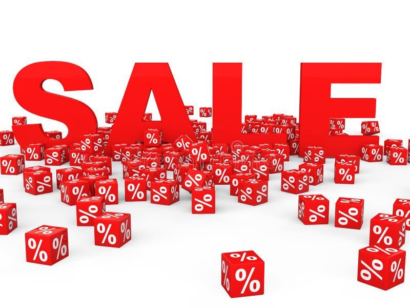 cubes en pour cent 3D et texte rouges de vente illustration de vecteur