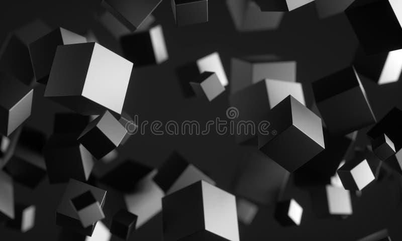 Cubes en Scifi dans l'espace vide illustration libre de droits