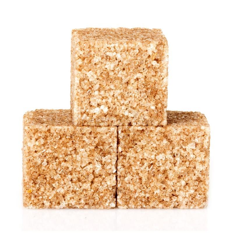 Cubes en sucre roux photo stock