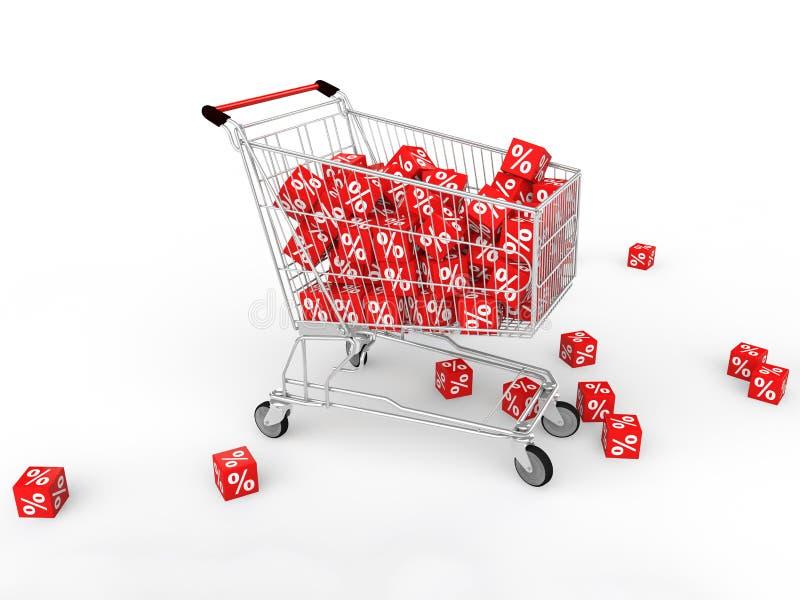 cubes en symbole du pourcentage 3d dans le chariot à achats illustration libre de droits