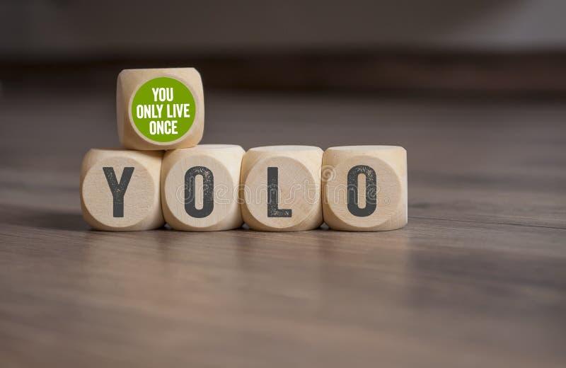 Cubes et matrices avec YOLO - vous vivez seulement une fois photo libre de droits
