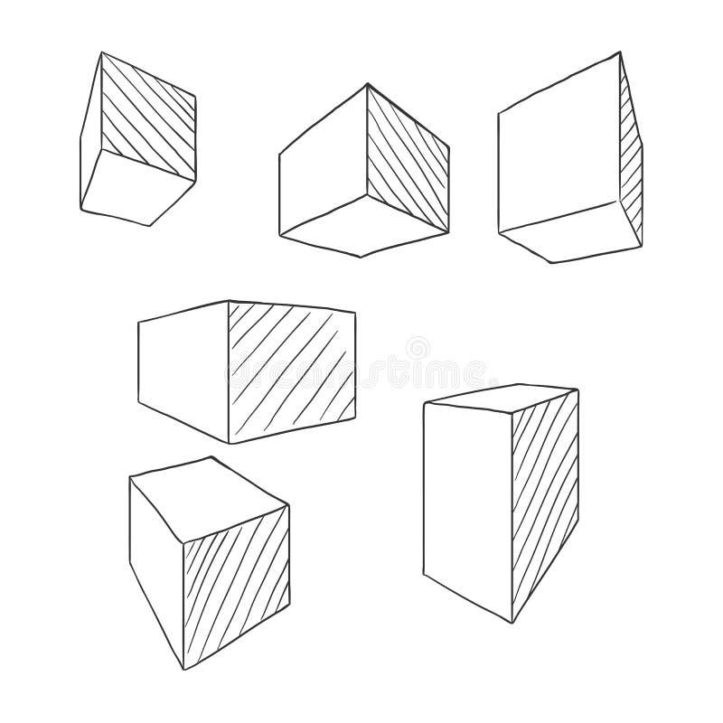 Cubes et parallélépipèdes en croquis Ensemble d'ensemble de vecteur de dessin de perspective des formes géométriques illustration de vecteur