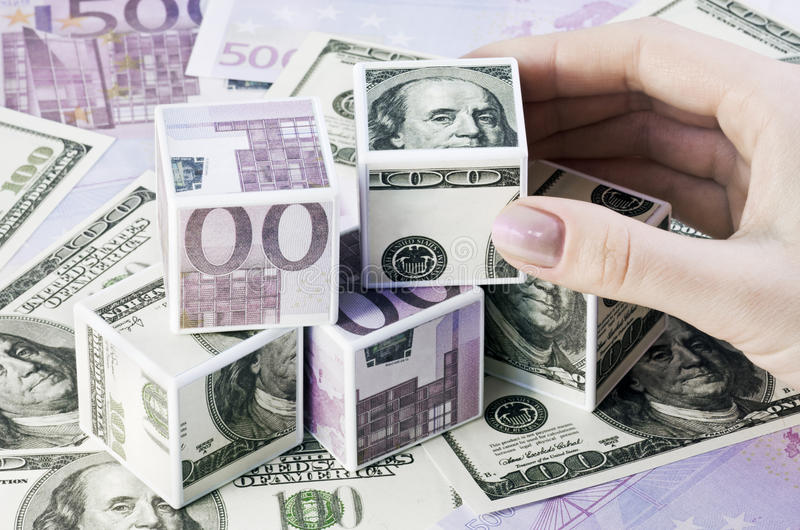 Download Cubes of euros and dollars stock photo. Image of hundred - 13376444
