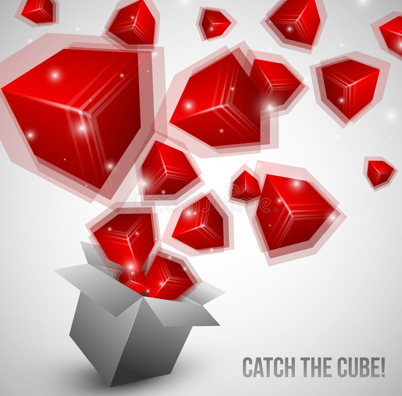Download Cubes Fly From Box Very Fast Stock Illustration - Image: 25199916