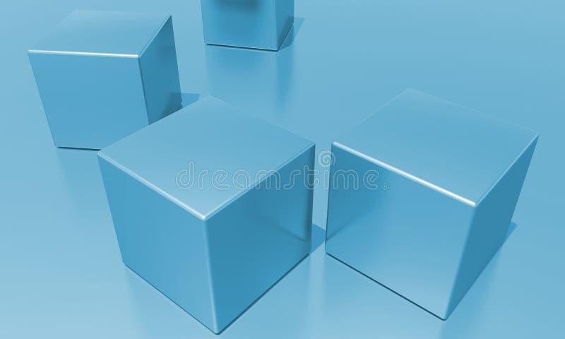 Cubes. Four blue, shiny metallic cubes vector illustration