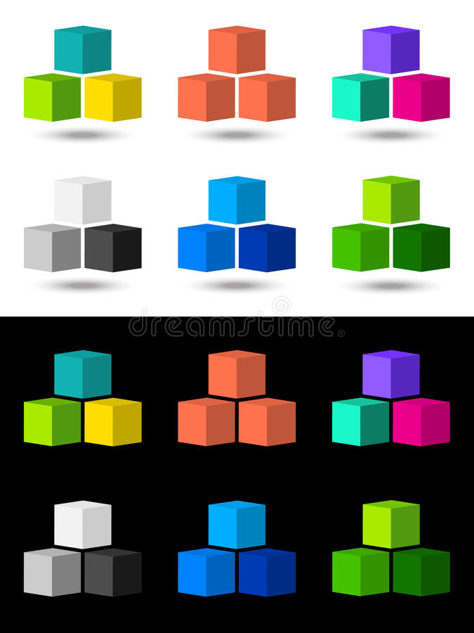 Download Cubes icon and logo design stock vector. Image of black - 22305525