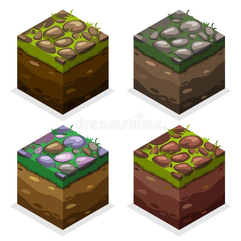 Cubes isométriques en bloc de jeu de couleurs, terre de nature et pierre éternelles sur l'herbe illustration stock