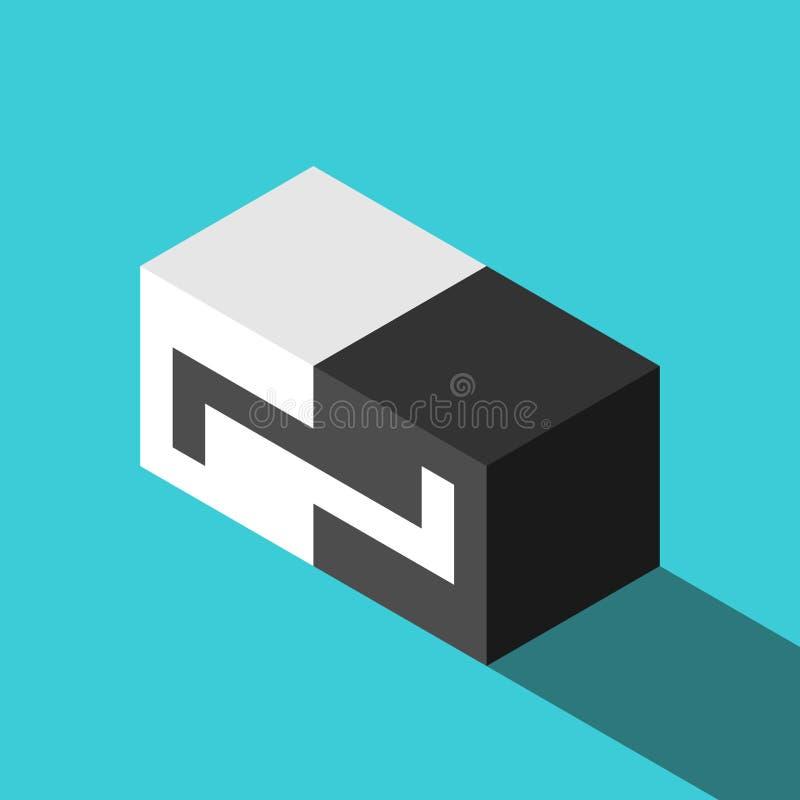 Cubes isométriques en puzzle denteux illustration libre de droits