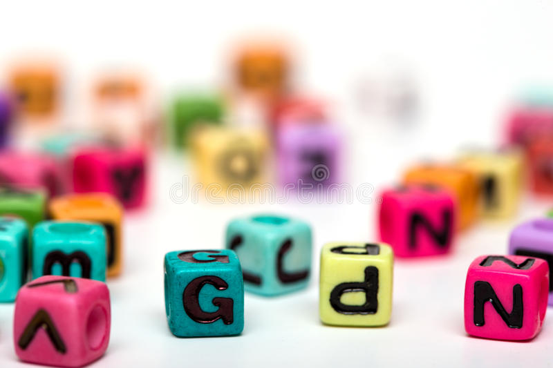 Cubes with letters stock images
