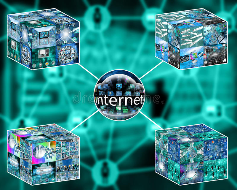 Cubes. Many abstract images on the theme of computers, Internet and high technology royalty free illustration