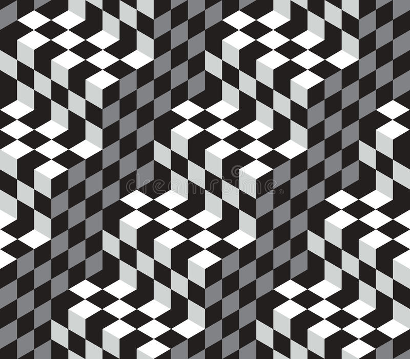 Cubes Optical Illustion Vector Seamless Pattern royalty free illustration