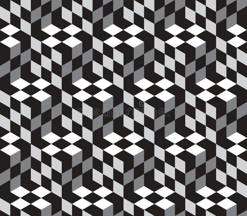 Cubes Optical Illustion Vector Seamless Pattern vector illustration